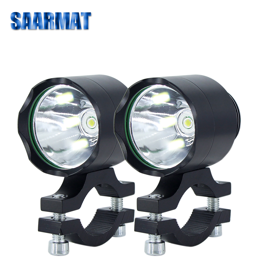 Pair Led motorcycle Fog light MINI Size front auxiliary lampspot head lights accessories Fog bulb moto  one switch free