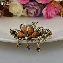 Vintage Women Elegant Turquoise Butterfly Flower Hairpins Hair Barrette Clip Crystal Bow Accessories