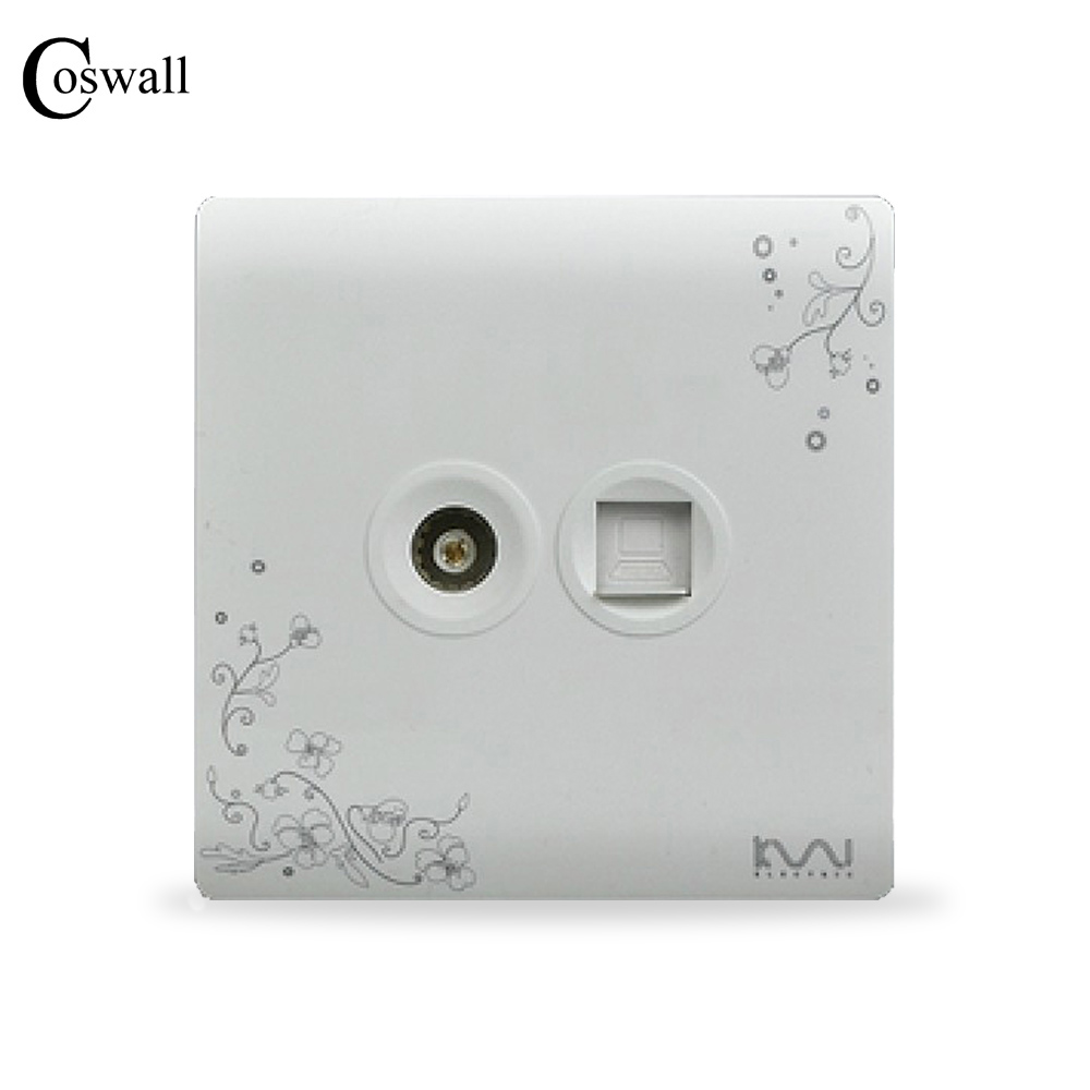 цена на COSWALL Wall RJ45 Data Internet Outlet With TV Socket, Ivory White, Brief Art Pattern Panel, AC 110~250V