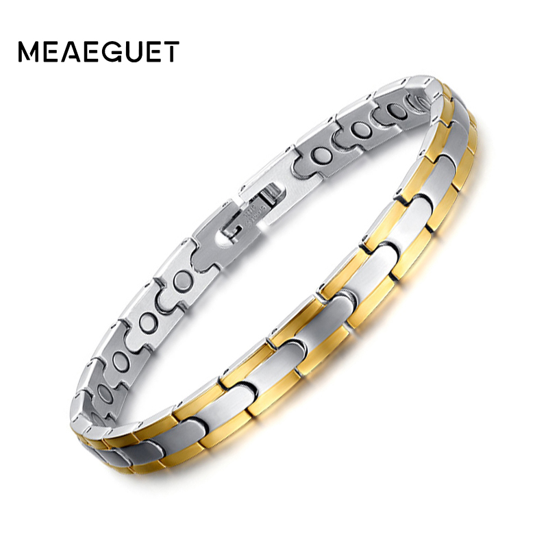 Meaeguet Gold-color Healthy Magnetic Bracelets & Bangles Stainless Steel Jewelry For Women Hand Chain candy coloured string hand chain bracelets