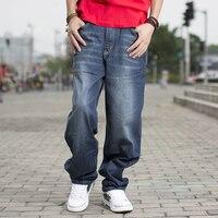 Бренд весна/осень Для мужчин s модные синие Черные джинсы брюки Повседневное свободные хип хоп мешковатые джинсы Мужская обувь с Йенс больш