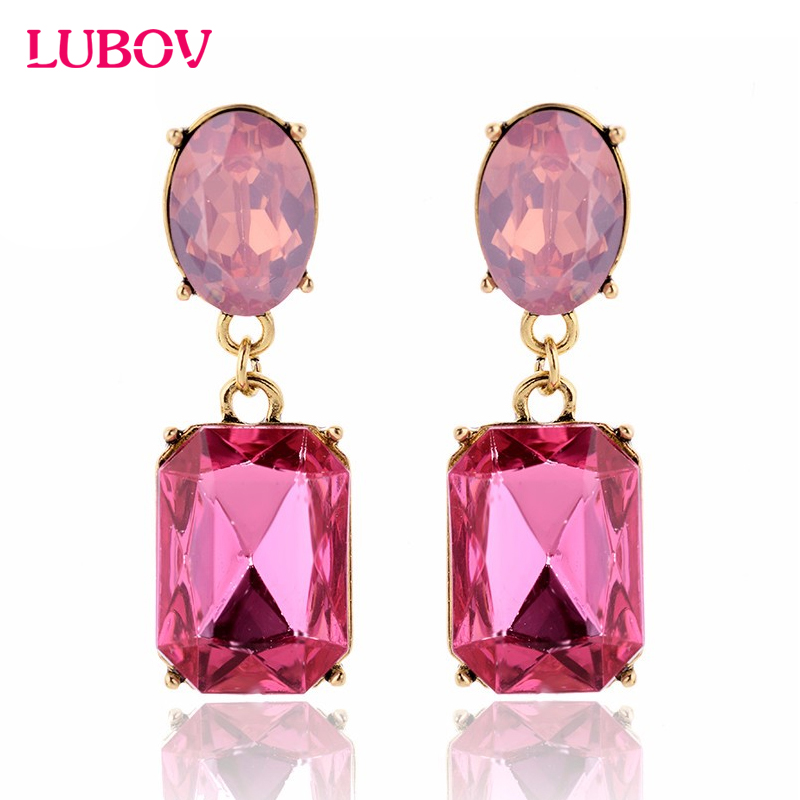 Shop1459317 Store Multicolor Square Candy Drop Earrings Pendant Fashion Jewelry for Women 2016 New Fashion Party Wedding Engagement Earrings