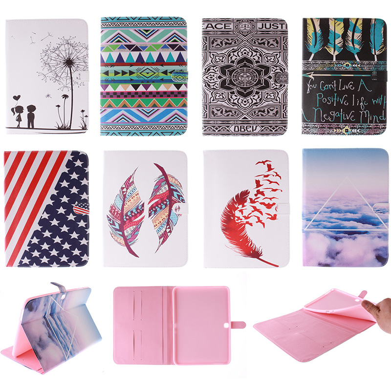 Fashion Feather Lotus Cloud Pattern PU Leather Flip Wallet Case For Samsung GALAXY Tab 4 10.1 SM-T531 T530 Back Cover Coque