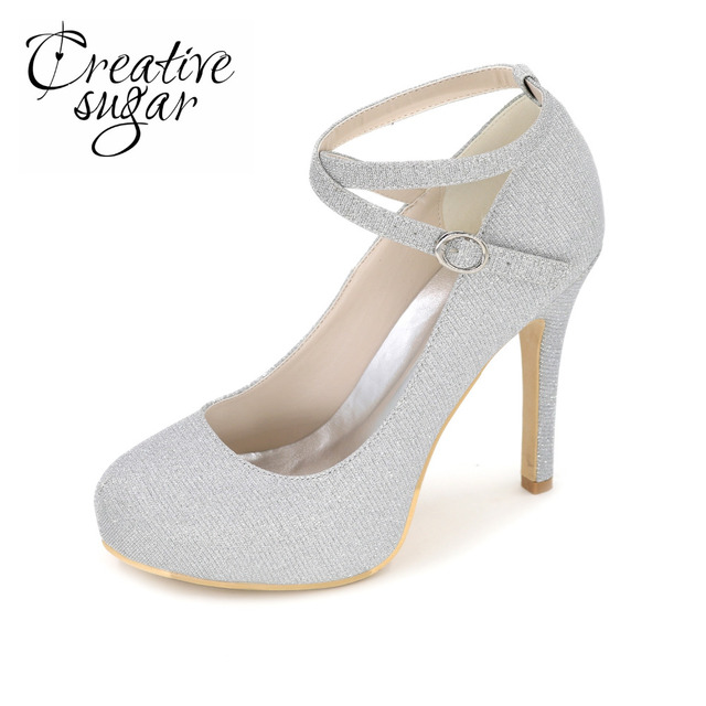 Creativesugar Crossed ankle strap woman round toe high heels gold ...