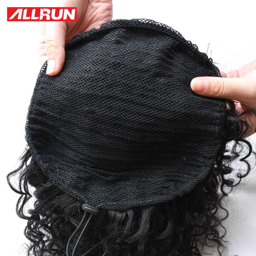Allrun человеческие волосы афро кудрявый конский хвост афро-американское короткое, обтягивающее на шнурке слоеный хвост малайзия не Remy расширение