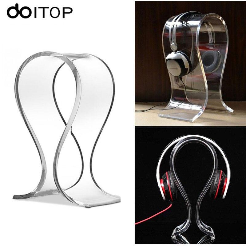 DOITOP Plexiglass U Shape Headphone Stand Support Holder Headset Earphone Desk Display Holder Earpiece Earband Hanger Rack #