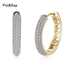 Visisap Trendy Hoop Earrings For Women Wedding Gifts Earring Vintage Jewelry AAA Cubic Zirconia Champagne Gold Color VKZCE133 misananryne design siliver gold color aaa cz wedding hoop earrings for women women s trendy pink blue cubic zirconia earring