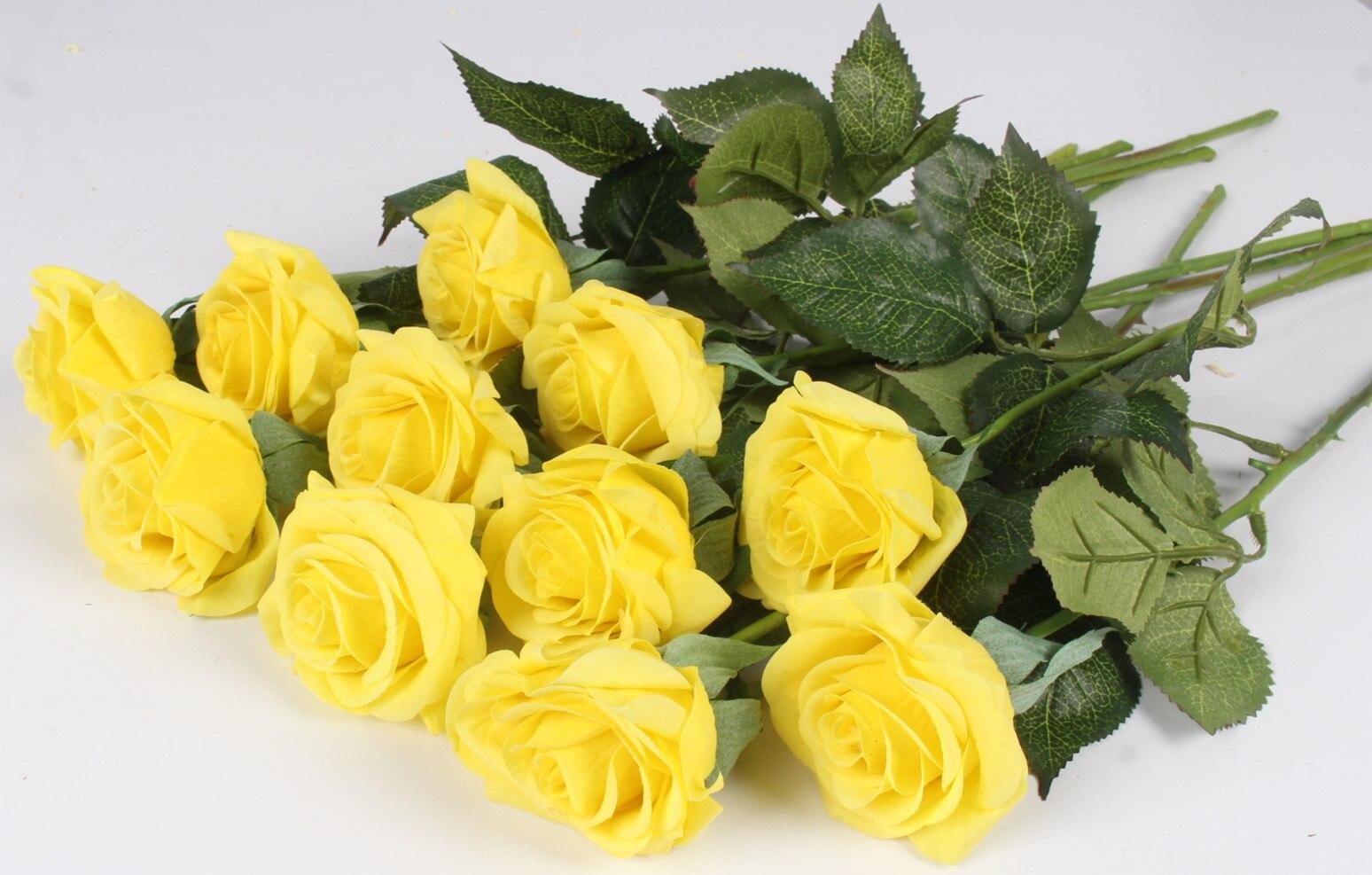 Hoa hồng giả HH-171: Mẫu C - Màu vàng