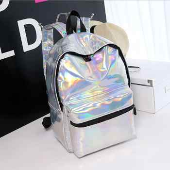 women backpack hologram laser backpacks girl school bag female simple silver bags leather holographic sac a main - DISCOUNT ITEM  22% OFF All Category