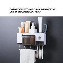 5 pçs/set Espremedores de Montagem Na Parede Porta escovas Distribuidor do Dentífrico escova de Dentes Suporte de Copo Acessórios Do Banheiro Conjuntos