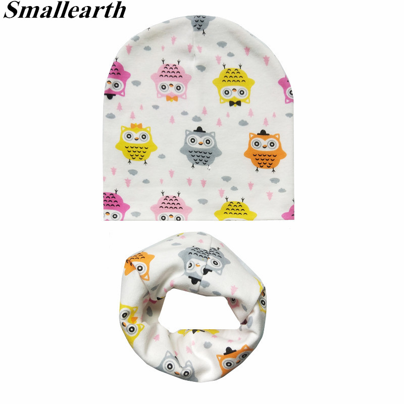 New Autumn Winter Baby Cartoon Hat Set Boys Girls Neck Scarf Spring Warm Neckerchief Kids Beanies Sets Cotton Children Hat Scarf