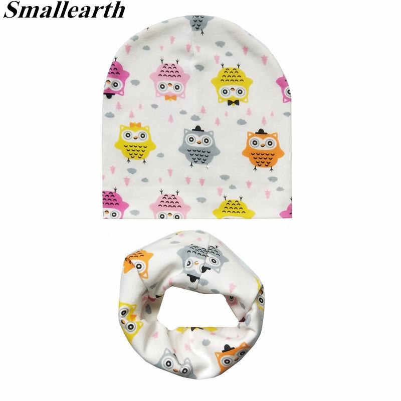New Autumn Winter Baby Cartoon Hat Set Boys Girls Neck Scarf Spring Warm Neckerchief Kids Beanies Sets Cotton Children Hat Scarf