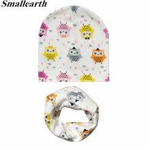 New Autumn Winter Baby Cartoon Hat Set Boys Girls Neck Scarf Spring Warm Neckerchief Kids Beanies Sets Cotton Children