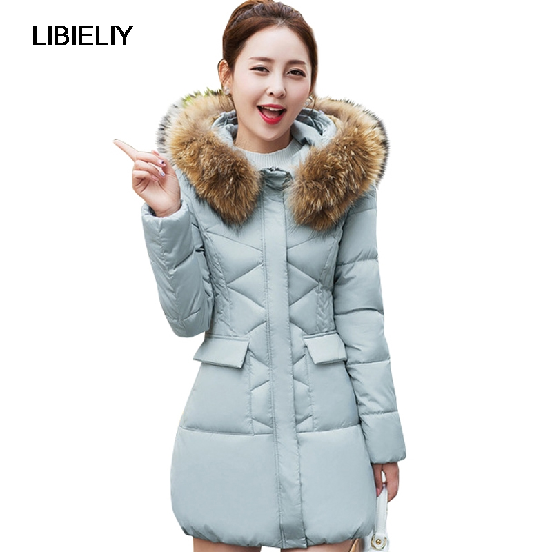 Nice New Fur Collar Parkas Women Winter Coats Medium-long Thick Solid Hooded Down Cotton Female Padded Jacket Warm Slim Outwear 2017 winter women coat warm down cotton padded jacket thick hooded outwear plus size parkas female loose medium long coats