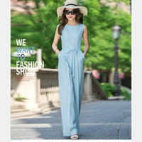 Women's Jumpsuits Bule Sexy Full Length Jumpsuit Chiffon Straight Beach Playsuit Women Outfit 2017 New Sleeveless