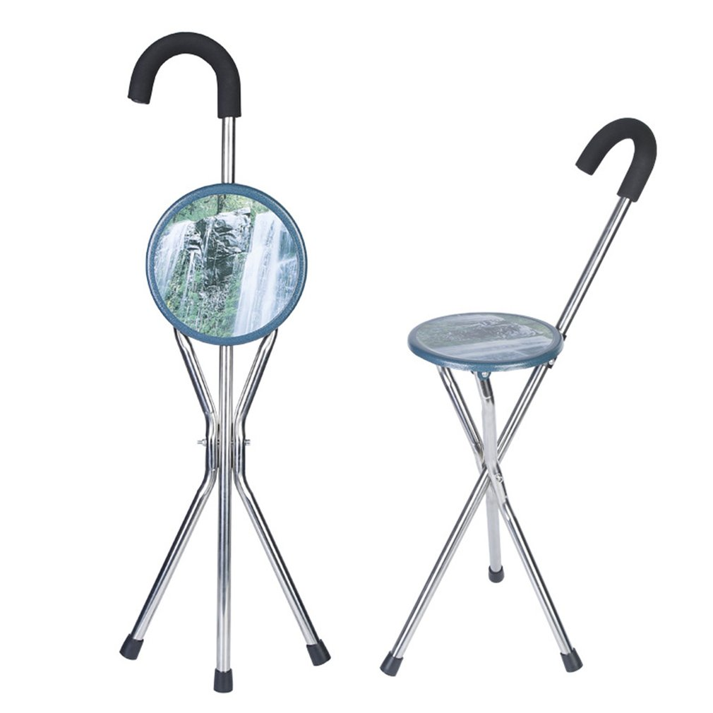 Folding Walking Chair Rest Stool Iron Walking Stick With Plastic Seat Non Slip Tripods Cane Elder Outdoor Hiking Climbing Crutch