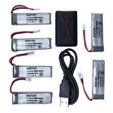 Li-Polymère Batterie 3.7 V 500 mAh Li-Polymère Batterie + Un Six Chargeur Pour JJRC H37 RC Quadcopter Meilleur vendeur Haute qualité