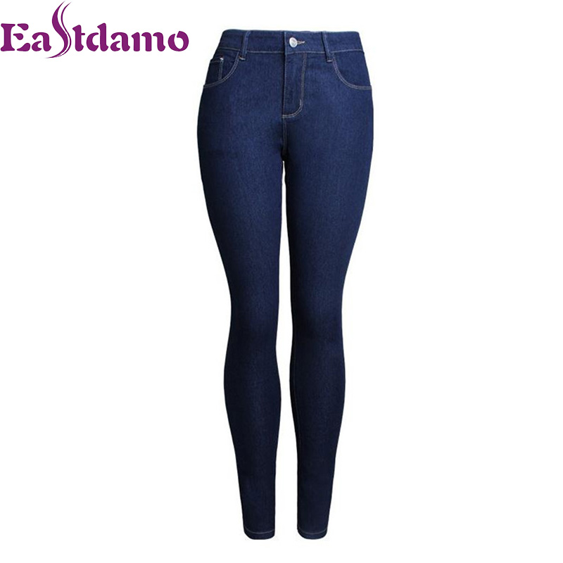 Eastdamo Basic Skinny Jeans Women High Waist Slim Stretch Denim Pencil Pants Female Casual Trousers Plus size Woman Jeans S-XXXL high waist skinny jeans extra long pencil pants plus size blue denim trousers 14 16 18 20 22w 24l l32 34 36 38 40w xxxl 4xl 5xl