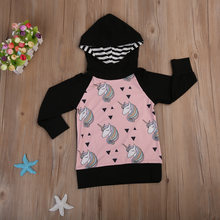 in Stock Unicorn Pattern Child Kid Girls Hooded Coat Jacket Casual Outerwear Autumn1-5Year(China)