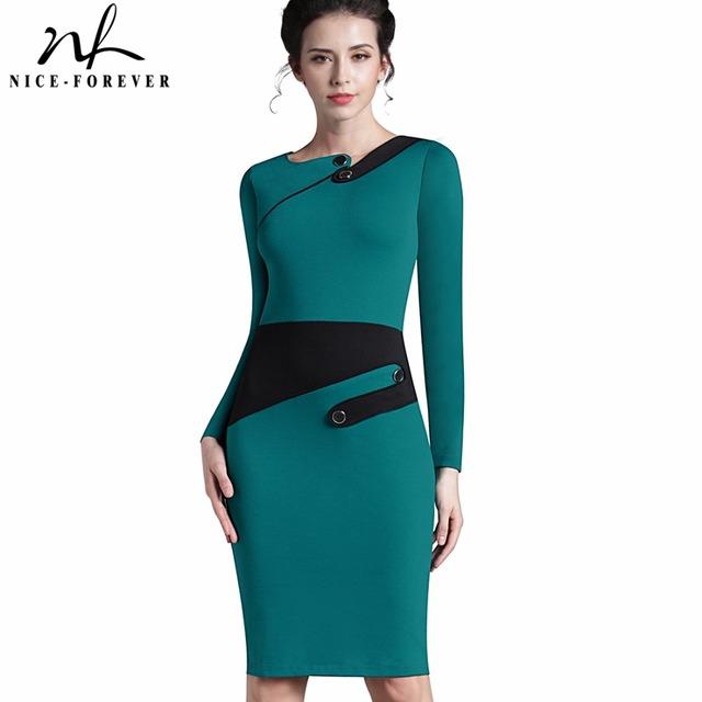 Nice-siempre negocio hembra lápiz dress señora elegante ilusión vaina patchwork botones equipados mujeres del vendaje de bodycon dress b231
