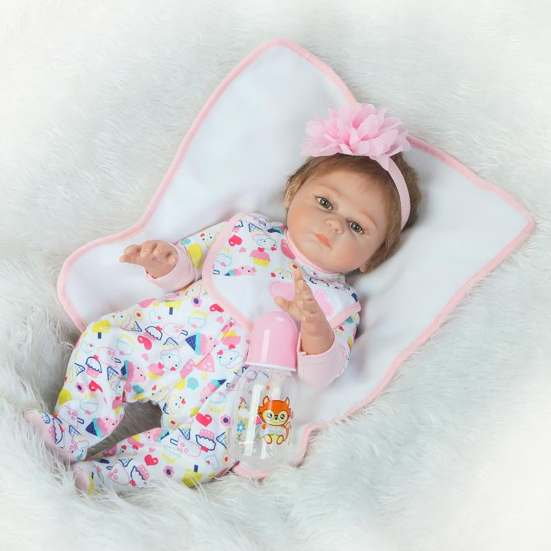 55cm New Full Body Silicone Reborn Baby Doll Toys Newborn Girl Baby Doll Christmas Gift Birthday Gift Bathe Toy Girls Brinquedos silicone reborn baby doll toy lifelike reborn baby dolls children birthday christmas gift toys for girls brinquedos with swaddle