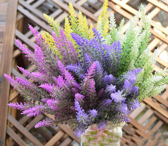 Free Shipping Artificial Lavender Flower 25 Heads Plastic Flowers Bouquet  Home Wedding Wedding Decoration Flower(