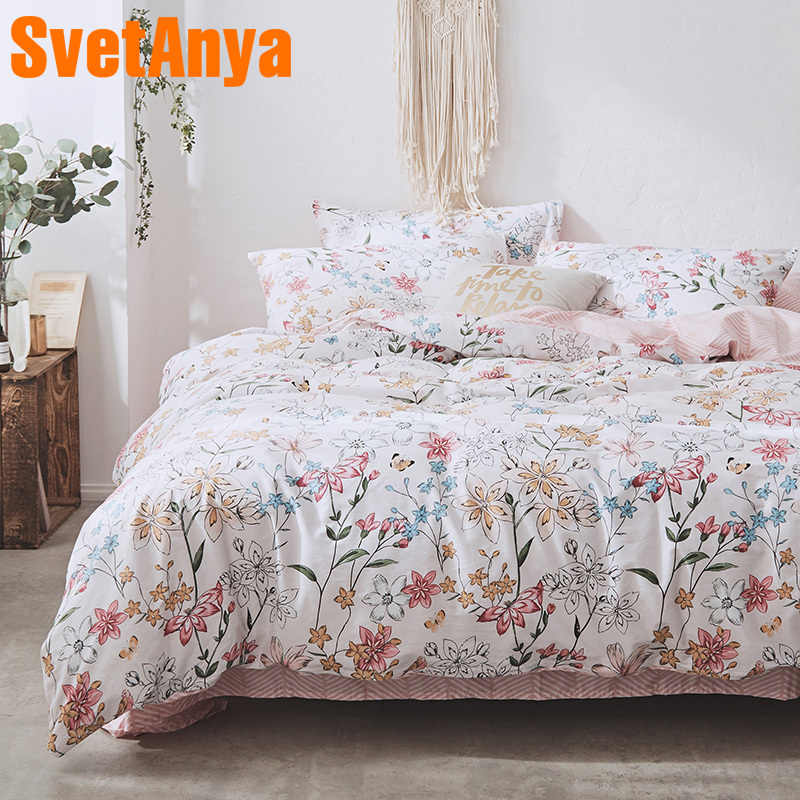 Svetanya Pastoral Cotton Bedding Set Single Double Size colorful printing Bed Linen
