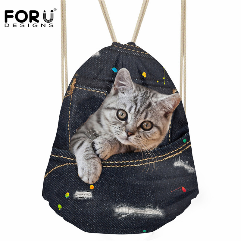 FORUDESIGNS Fashion Women Drawstring Bag Black Denim Cat Print Storage Bag Soft Beach Bags Kids Boys Girls Daily Sack Backpacks forudesigns fashion women drawstring bags william morris print mini string rucksacks for female reusable storage backpacks bolsa