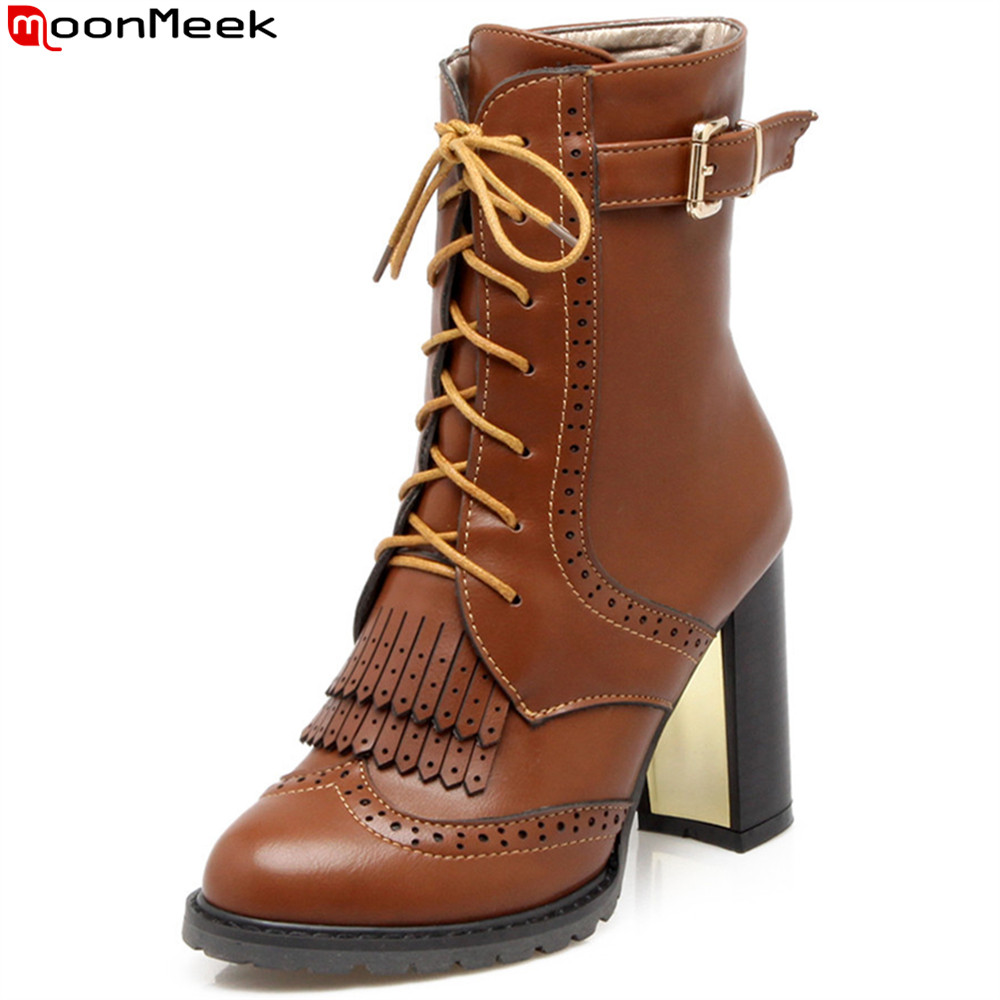 MoonMeek 2018 winter new arrive women boots black brown ladies boots lace up buckle Keep warm inside ankle boots big size 33-43 moonmeek 2018 autumn winter new arrive