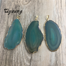 Large Freeform Green Stripped Agates Quartz Druzy Slice Pendant,Pure Gold Edges and bail Charm For Necklace Jewelry MY1505
