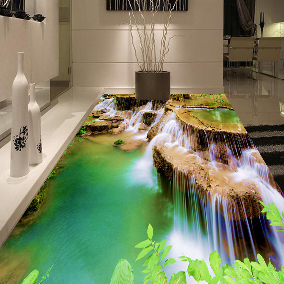 Custom 3D Floor Murals Self Adhesive Wallpaper Waterfall