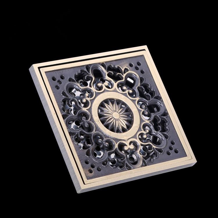 10*10cm New Arrival Antique Bronze Finish Fashion Design Euro Square Floor Drain Shower Drain Bathroom Furniture