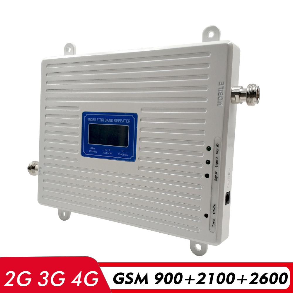 2G 3G 4G Tri Band Booster GSM 900+UMTS WCDMA 2100+4G FDD LTE 2600 Cell Phone Signal Booster 900/2100/2600mhz Cellular Amplifier