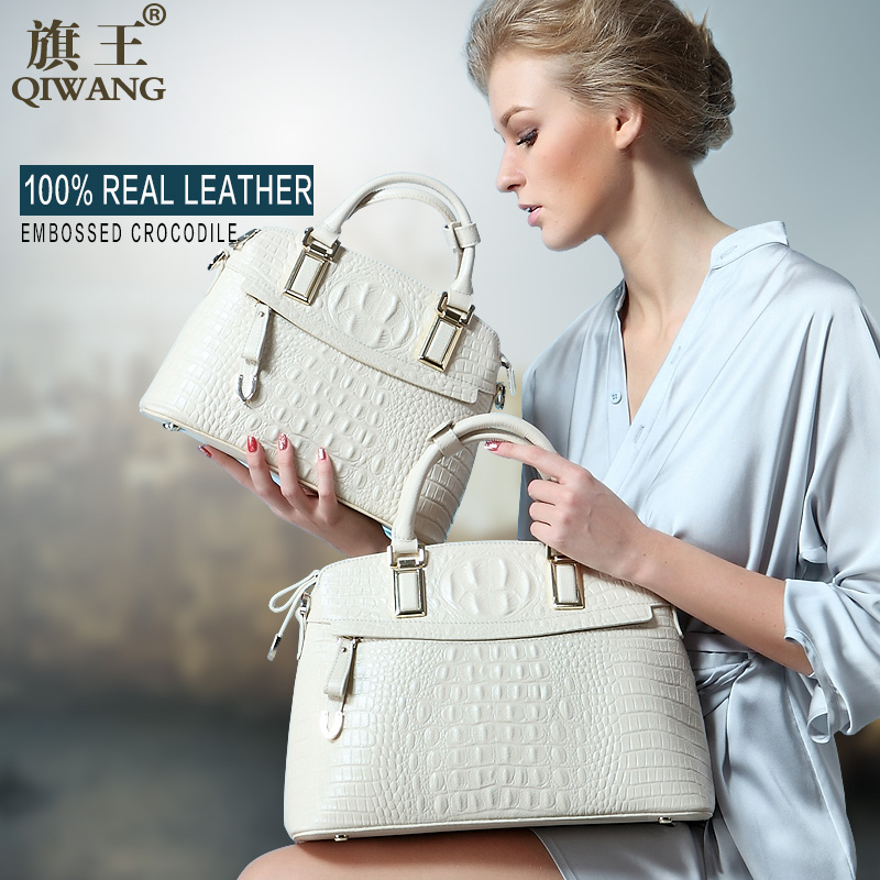 Qiwang Classic Crocodile Women Bag Big Brand Luxury Elegant Top-handle Bags Fash