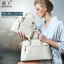 Qiwang крокодил Для женщин сумка большая Роскошные элегантные ручка сверху Сумки бренд Для женщин дизайнер Сумки 100% Пояса из натуральной кожи женская сумка