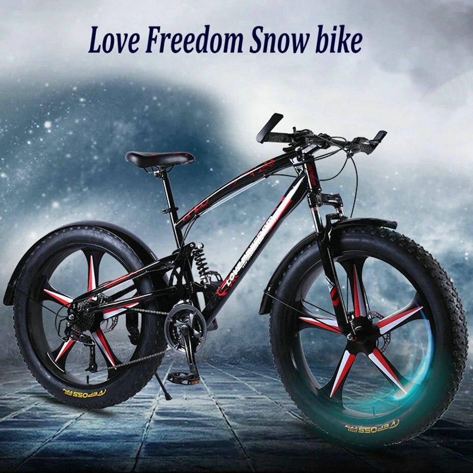 HTB1UbQNXBr0gK0jSZFnq6zRRXXaq Love Freedom 7/21/24/27 Speed Mountain Bike 26 * 4.0 Fat Tire Bikes Shock Absorbers Bicycle Free Delivery Snow Bike