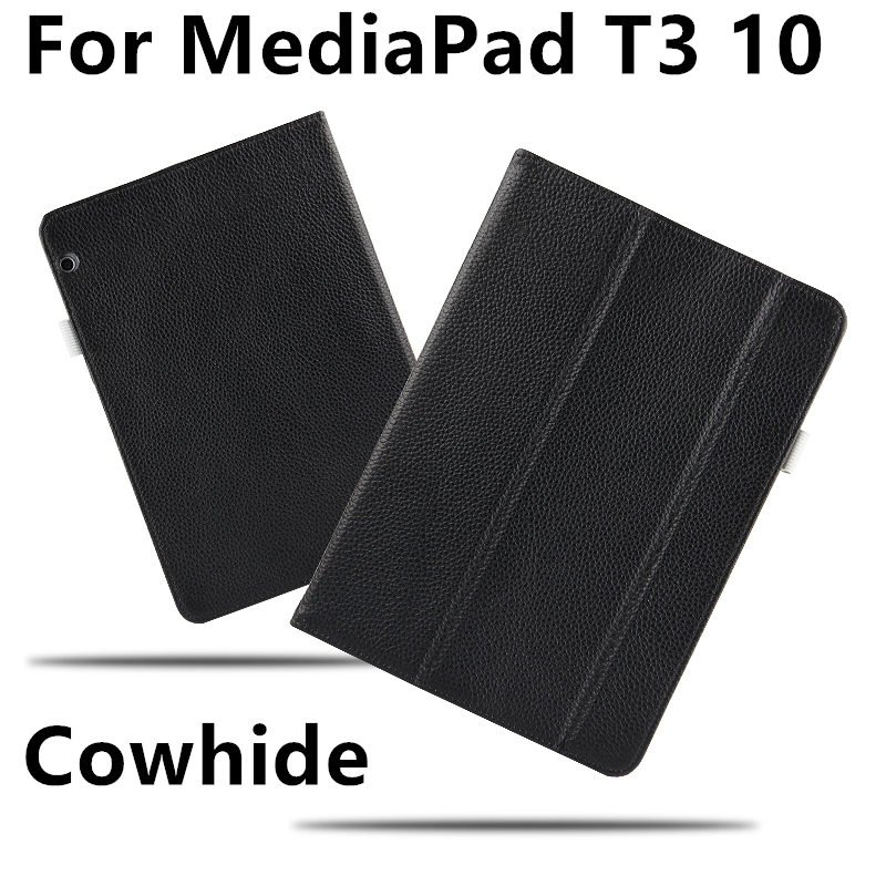 Case Cowhide For Huawei MediaPad T3 10 Protective Smart Cover Genuine Leather Tablet AGS-L09 AGS-L03 W09 T310  Protector Sleeve case cowhide for huawei mediapad x1 protective smart cover genuine leather tablet for honor x1 7d 501u 7d 503l protector
