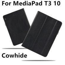 Case Cowhide For Huawei MediaPad T3 10 Protective Smart Cover Genuine Leather Tablet AGS-L09 AGS-L03 W09 T310  Protector Sleeve