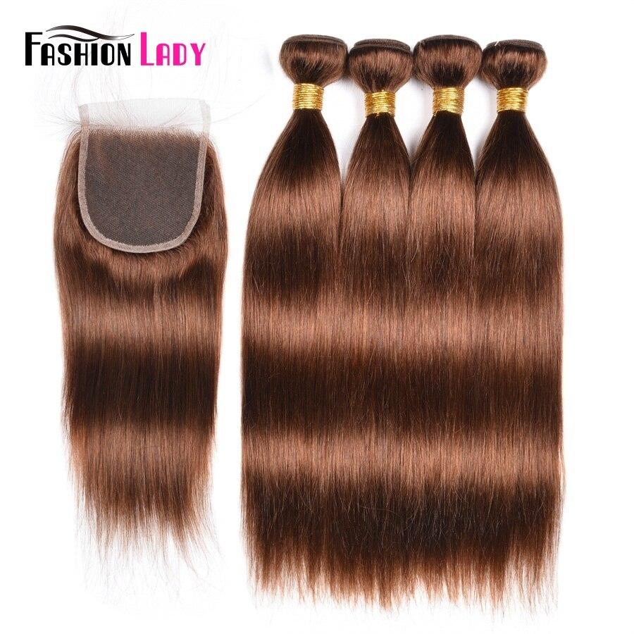 Fashion Lady Pre Colored 4Pcs Peruvian Human Hair Bundles Closure Brown 4 Straight Weave With Closure
