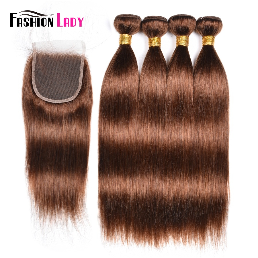 Fashion Lady Pre-Colored 4Pcs Peruvian Human Hair Bundles Closure Brown 4# Straight Weave With Closure Hair Extension Non-Remy