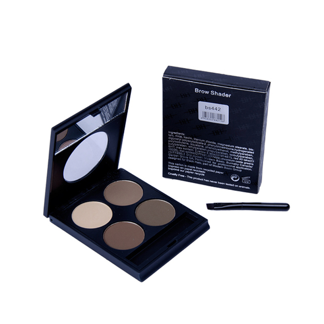 4 Color Eyebrow Powder,High Quality Eye Brow Enhancer Makeup Kit With Mirror And Brush.