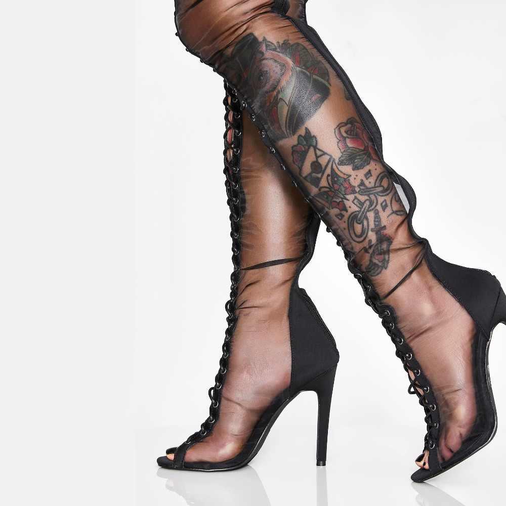 Arden Furtado 2019 sommer stilettos peep toe mesh stiefel über das knie high heels große größe sexy damen kreuz gebunden sandalen schuhe
