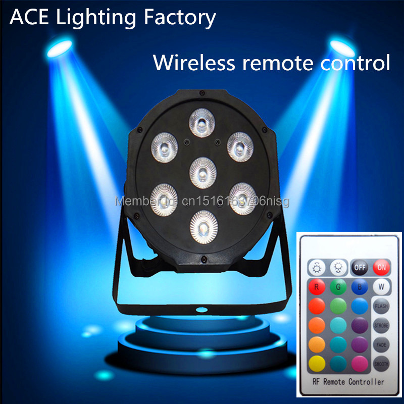 Free&Fast shipping DMX Stage Light Wireless remote control the brightest 4/8 dmx Channels Led Flat Par 7x12W RGBW 4IN1 led lamp  4pcs lot the brightest 4 8 dmx channels led flat par 18x12w rgbw 4in1 led par can light with power in power out