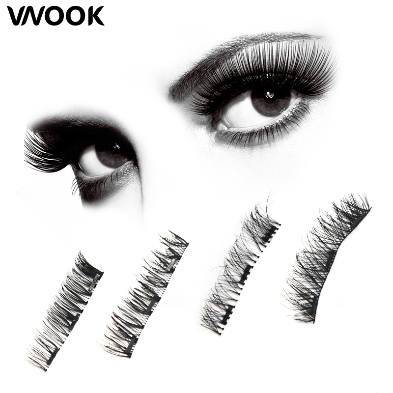 4Pcs/Pair False Magnetic Eyelashes Extension Magnet Lashes extension silk 3d Natural Hair Thick Fake Eyelash Handmade With box