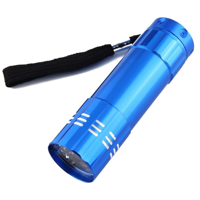 Mini aluminum uv ultra violet 9 led flashlight torch light lampLDUK