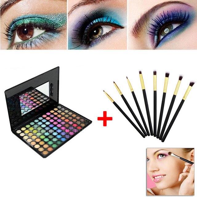 Kit sombra 88 Cores da Paleta Da Sombra de Maquiagem Sombras + 8 pcs Eye Foundation Blending Pincel