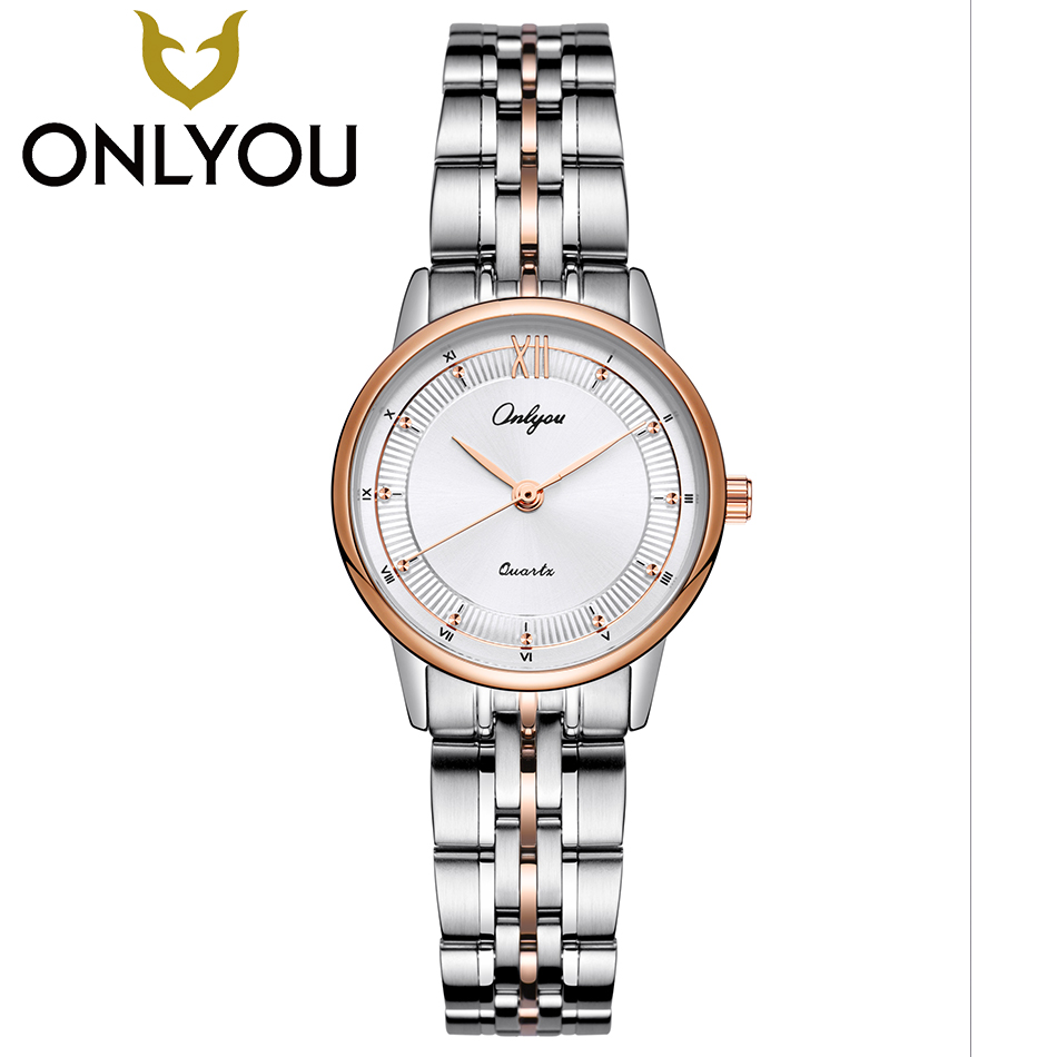 ONLYOU Fashion Wrist Watches For Women Business Unique Roman numerals dial Ladies Luxury Quartz Clock Female Dress Watch women watches top brand luxury fashion slim red leather strap roman numerals dial quartz wrist watch ladies clock montre femme