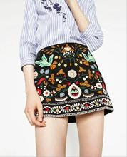 European and American Fashion Ethnic Embroidery Black Floral Short Skirt Sexy Package Hip Vintage High Waist Mini Skirts Women