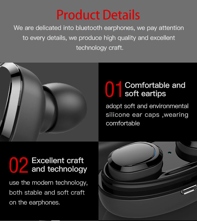 Original T12 Dual TWS True Wireless Bluetooth Headphones In-ear Stereo Music Headsets Invisible Earphone Hands-free Microphone_12