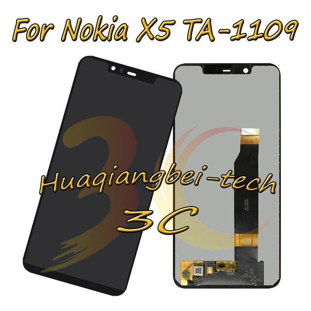 5.86 ''שחור חדש עבור Nokia X5 TA-1109 מלא LCD תצוגה + מסך מגע Digitizer עצרת עבור Nokia x5 100% נבדק
